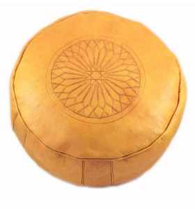 Pouffe made of Engraved Yellow Leather