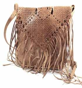 Bag made of Camel leather with Fringes by Loubna