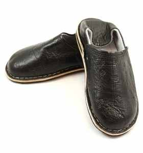 Amazigh Slippers made of Black Leather