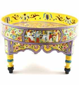 Moroccan Yellow Painted Small & Low Table