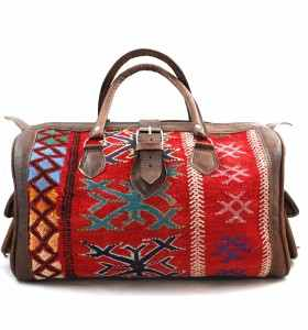 Bag made of Leather & Killim for the Week-ends by Fatna